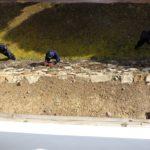 Работници в замъка на град Химеджи почистват трева от зида
