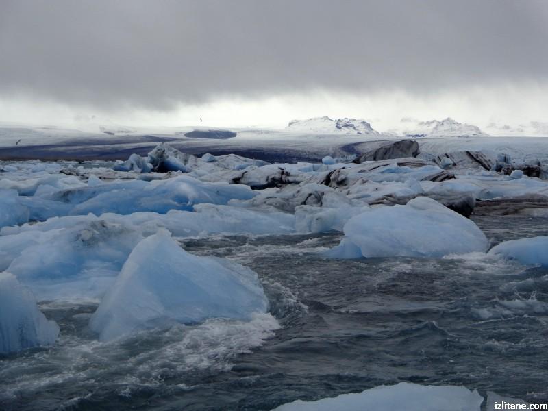 """Ледената лагуна Йокулсарлон - 6, айсберги на фона на ледника """"Брейдамеркюрйокутл"""""""