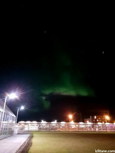 """Северното сияние над летище """"Лейфур Ериксон"""""""