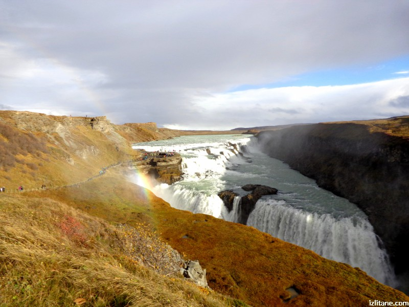 "Водопадът Гутлфос, ""Златният водопад"" през октомври"