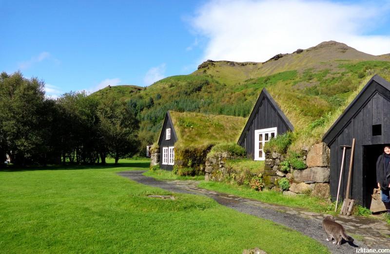 Торфени къщи в град Скогар. Исландско зелено - 7